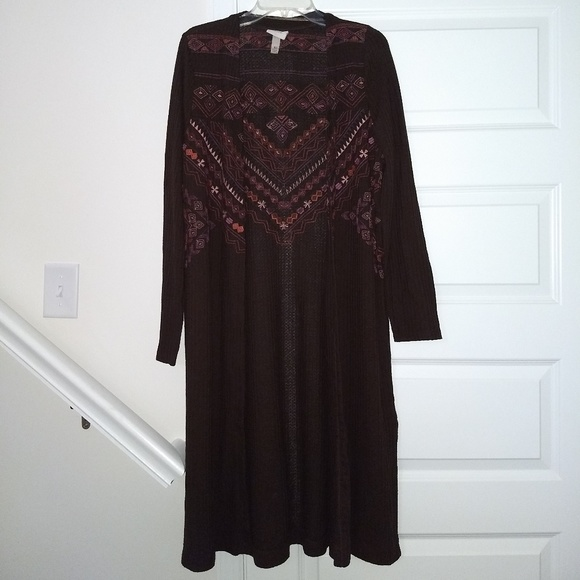 Knox Rose Sweaters - Long Embroidered Cardigan